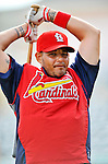 3 March 2011: St. Louis Cardinals' catcher Yadier Molina awaits his turn in the batting cage prior to a Spring Training game against the Washington Nationals at Roger Dean Stadium in Jupiter, Florida. The Cardinals defeated the Nationals 7-5 in Grapefruit League action. Mandatory Credit: Ed Wolfstein Photo