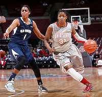 Ohio State Buckeyes guard Raven Ferguson (31) is guarded by Old Dominion Lady Monarchs forward Shae Kelley (1) during Friday's NCAA Division I basketball game at Value City Arena in Columbus on November 22, 2013. Ohio State led at halftime, 36-26. (Barbara J. Perenic/The Columbus Dispatch)