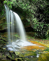"""""""SCHOOLHOUSE FALLS"""" -- A spring view of this incredibly popular waterfall in the Panthertown Valley of western North Carolina."""