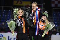 SHORTTRACK: AMSTERDAM: Jaap Edenhal, 04-01-2015, KPN NK Shorttrack, Podium Junioren B Meisjes, Aafke Soet, Gioya Lancee, Esmée Messemaker, ©foto Martin de Jong