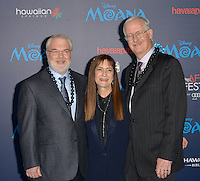 "HOLLYWOOD, CA - NOVEMBER 14: Ron Cleents, Osnat Shurer and John Musker attend the AFI FEST 2016 Presented By Audi - Premiere Of Disney's ""Moana"" at the El Capitan Theatre in Hollywood, California on November 14, 2016. Credit: Koi Sojer/Snap'N U Photos/MediaPunch"