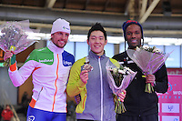 SCHAATSEN: BERLIJN: Sportforum, 07-12-2013, Essent ISU World Cup, podium 1000m Men Division A, Michel Mulder (NED), Tae-Bum Mo (KOR), Shani Davis (USA), ©foto Martin de Jong