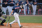 Ole Miss' Alex Yarbrough (2) hits a game winning RBI single in the 10th inning vs. Wright State at Oxford University Stadium in Oxford, Miss. on Saturday, February 19, 2011.
