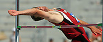 11 JUNE 2008: Stanford decathlete Josh Hustedt eyes the bar set at 6' 4&quot;in the high jump Wednesday as he make a clearance worth 740 points. The NCAA Division 1 Men's and Women's Track &amp; Field Championships in Des Moines, Iowa, was in it's first of four days of competition.  David Peterson