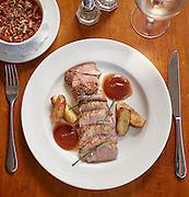 Apple brined pork tederloin, with sweet potato casserole, homemade apple butter.