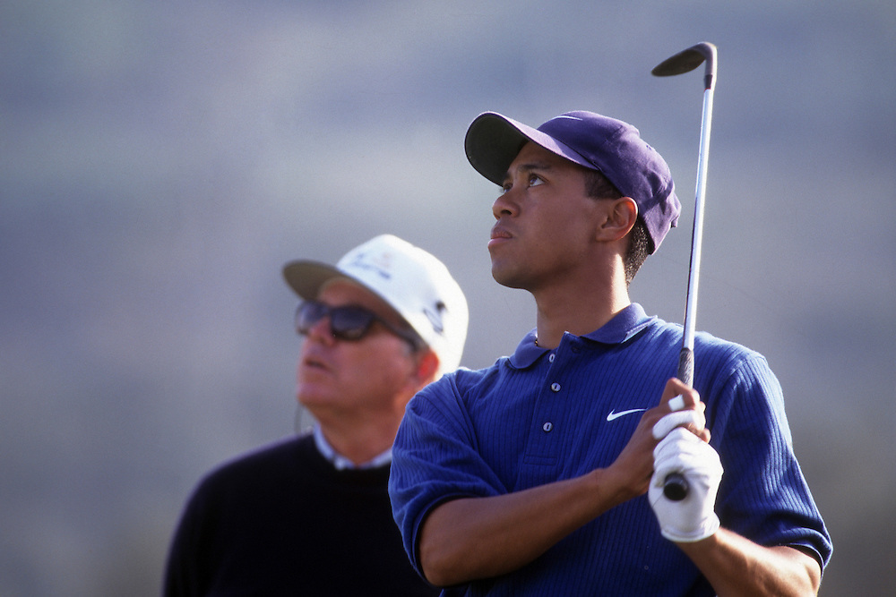 Tiger Woods at the 1997 Mercedes Championship held at the La Costa Resort and Spa in Carlsbad, California.