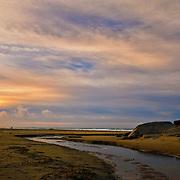 Sunset at Hellestø beach at Jæren in Rogaland.