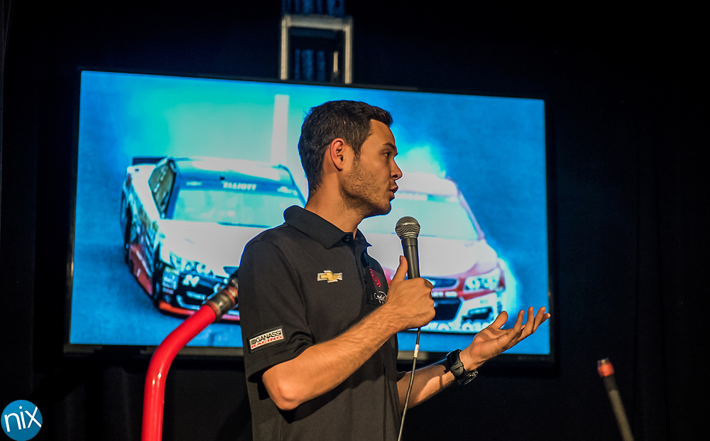 NASCAR driver Kyle Larson speaks during press event at Charlotte Motor Speedway announcing the new format for the upcoming Monster Energy NASCAR All-Star Race. Teams will have the option for a softer tire that will give drivers more grip during the four-segment race.