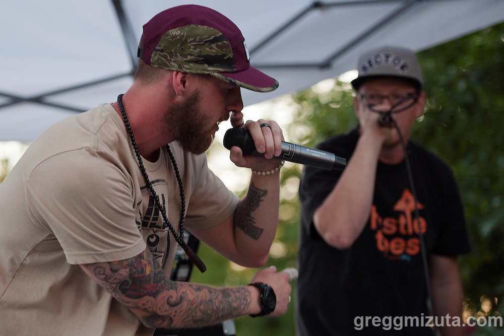 Axiom Tha Wyze (Jordan Yocum) performs at the Mics and Mini Ramps, a hip hop show and mini ramp contest on June 25, 2016 at The Shredder in Boise, Idaho. (Gregg Mizuta/greggmizuta.com)<br /> <br /> Performances by Edable &amp; Elms One, Axiom Tha Wyze &amp; Andy O, Tony G, and Auzomatik. Food by Wetos Locos, and live painting by Elms One.