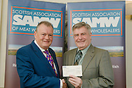 Scottish Association of Meat Wholesalers presentation of cheques to 3 charities at Parklands Hotel, Perth, 28th September, 2016. Allan Jess (President) with Bill Fenwick