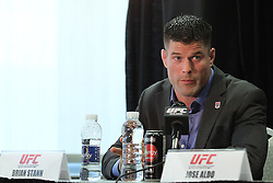 October 5, 2011; Houston, TX.; USA;  Brian Stann speaks at the final press conference for his fight against Chael Sonnen at UFC 136.