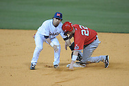 Austin Peay's Cody Hudson (22) steals second base as Ole Miss' Blake Newalu (6) takes the throw at Oxford-University Stadium in Oxford, Miss. on Tuesday, March 1, 2010.