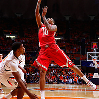 CHAMPAIGN, IL - JANUARY 05: LaQuinton Ross #10 of the Ohio State Buckeyes shoots the ball over Myke Henry #20 of the Illinois Fighting Illini at Assembly Hall on January 5, 2013 in Champaign, Illinois. Ilinois defeated Ohio State 74-55. (Photo by Michael Hickey/Getty Images) *** Local Caption *** LaQuinton Ross; Myke Henry