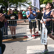 Thomas McConville (479) of New York, NY., crosses the finish line finishing the Delaware Marathon with a time 2:29:21.3 during the 13th Annual Discover Bank Delaware Marathon Sunday, May 8, 2016, at Tubman Garrett Riverfront Park, in Wilmington Delaware.