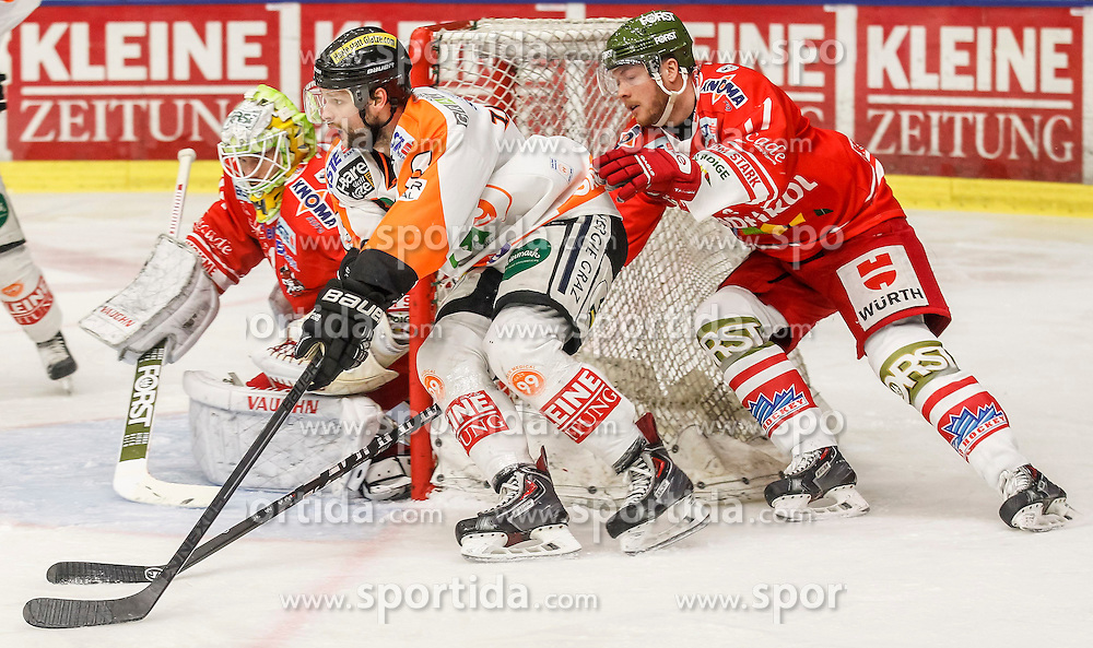 17.02.2015, Eisstadion Liebenau, Graz, AUT, EBEL, Moser Medical Graz 99ers vs HCB Suedtirol, 48. Runde, im Bild Jaroslav Huebl (HCB Südtirol), Marek Zagrapan (Moser Medical Graz 99ers) und Alexander Egger (HCB Südtirol) // Jaroslav Huebl (HCB Südtirol), Marek Zagrapan (Moser Medical Graz 99ers) und Alexander Egger (HCB Südtirol) during the Erste Bank Icehockey League 48th Round match between Moser Medical Graz 99ers and HCB Suedtirol at the Ice Stadium Liebenau, Graz, Austria on 2015/02/17, EXPA Pictures © 2015, PhotoCredit: EXPA/ Erwin Scheriau