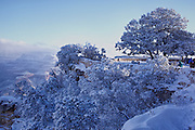 Scenic photo of snow covered cliffs near El Tovar Lodge on the historic Grand Canyon Village Rim trail.