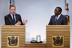 The Prime Minister of New Zealand John Key speaks to the media with the Prime minister of Zimbabwe (R Dr the Rt Hon Morgan Tavangirai during a joint press conference at the Beehive, Wellington, New Zealand, Wednesday, July 25, 2012. Credit:SNPA / Marty Melville