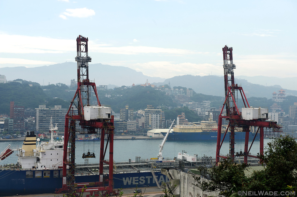 Keelung Harbor and Zhongzheng Park, as seen from the Xiandong Fairy Cave, in Keelung, Taiwan.