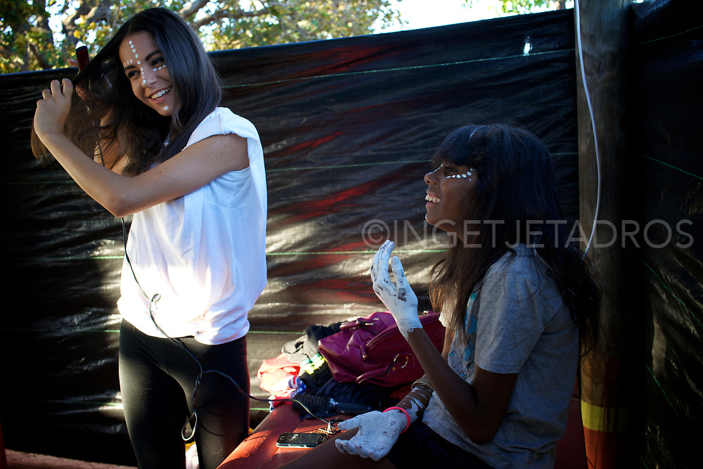 Girls preparing for their dance, 'Dreamtime Dancers'. Dreamtime Dancers is a community engagement project for young people in Broome, Western Australia, delivered through the medium of contemporary Aboriginal dance<br />This project is a direct response to the vulnerabilities of at-risk young people in Broome, promoting Indigenous culture and heritage, encouraging creativity and physical exercise and building self-confidence. Broome, WA