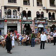 Utenfor Khan El-Khalili-basaren i Kairo, Egypt. Foto: Bente Haarstad Daily life in Cairo, the biggest city in Africa, with something between 18 and 22 mill. inhabitants. Khan el-Khalili is a major souk in the Islamic district of Cairo. The bazaar is one of Cairo's main attractions.