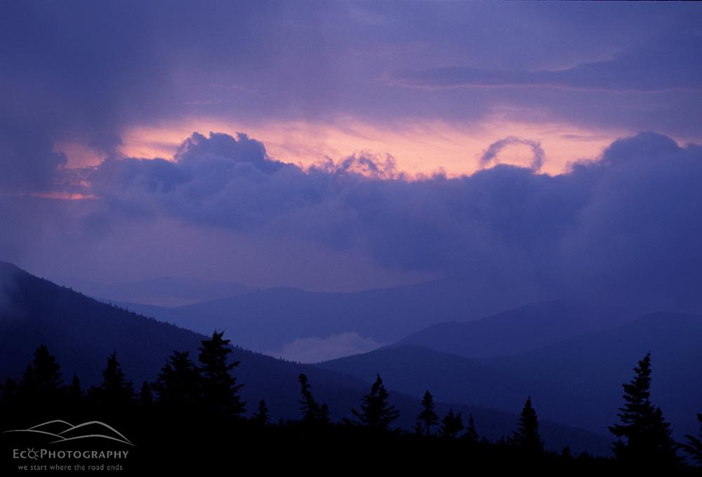 Appalachian Trail. Mahoosuc Mountains at sunrise.  Mahoosuc Arm, ME