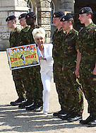 Barbara Windsor at Horse Guards Parade to launch a new set of Royal Mail stamps to honour the Carry On movies.