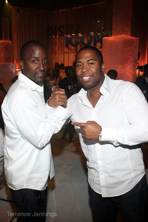 l to r: Derrin Woodhouse and Chauncy Hamel at the Grey Goose and BET Presents ' Rising Icons ' featuring Wale held at BET Studios on July 28, 2009 in New York City