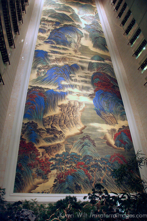 "Asia, China, Hong Kong. The world's largest Chinese silk painting, ""The Great Motherland of China"", spanning 16 stories at the Island Shangri-La Hotel.."