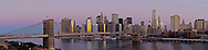 Brooklyn Bridge at Dawn, Connecting Manhattan and Brooklyn, New York City, NY, designed by John Augustus Roebling, panorama