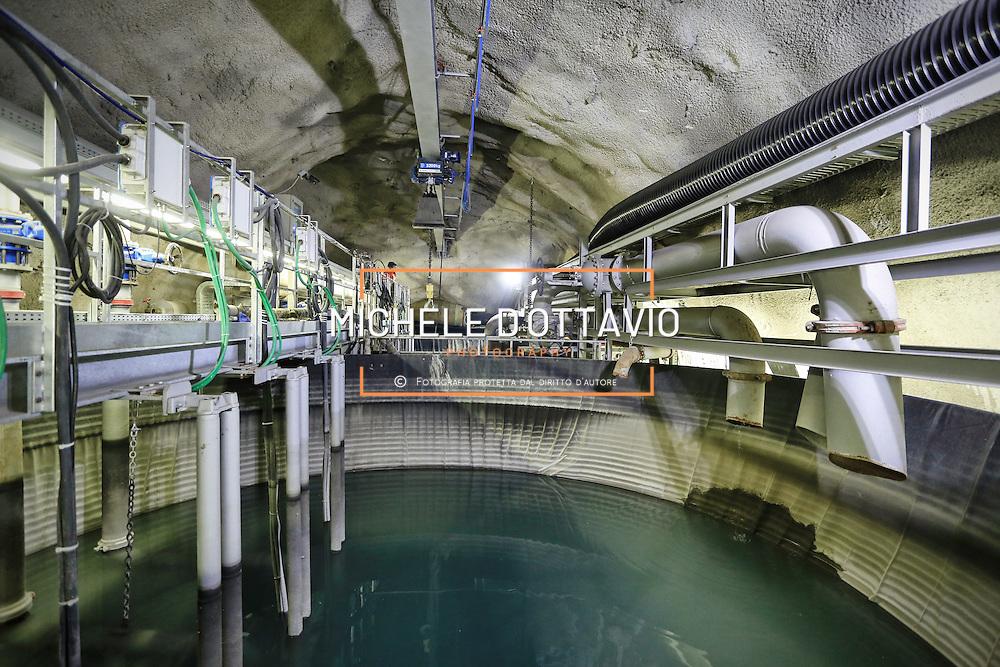 CHIOMONTE (TORINO) -10 ottobre 2016 -  galleria geognostica in cantiere della linea ferroviaria Tav Torino Lione.
