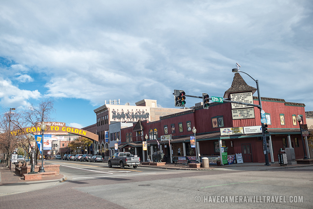 An intersection in the center of Golden, Colorado, just outside Denver at the eastern edge of the Rocky Mountains.