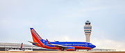 A Southwest Airlines jet about to depart from Atlanta's Hartsfield-Jackson International Airport.