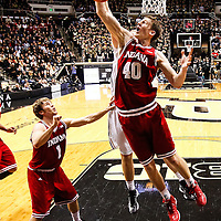 WEST LAFAYETTE, IN - JANUARY 30: Cody Zeller #40 of the Indiana Hoosiers goes up for a rebound against the Purdue Boilermakers at Mackey Arena on January 30, 2013 in West Lafayette, Indiana. Indiana defeated Purdue 97-60. (Photo by Michael Hickey/Getty Images) *** Local Caption *** Cody Zeller