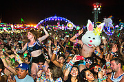 The crowd gets moving to Benny Benassi at Kinetic Field on the First night of EDC at the Las Vegas Speedway.