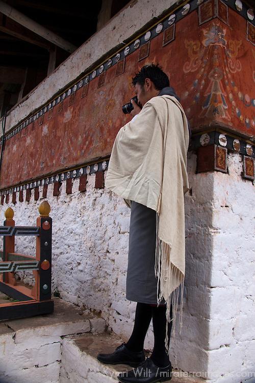 Asia, Bhutan, Trongsa. Bhutanese Guide at Trongsa Dzong.