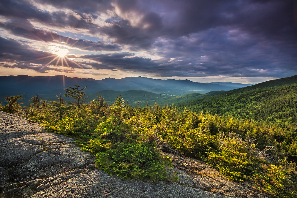 Clearing storm and suset light over the Nebraska Range from White Rocks, Putnam State Forest, Vermont