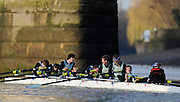 """London; GREAT BRITAIN; Cambridge University Trial Eights for crew selection for 157th Boat Race [April 2011]  raced over the Championship Course Putney to Mortlake  on the River Thames. Wednesday  - 08/12/2010   [Mandatory Credit; """"Photo, Peter Spurrier/Intersport-images].Crews..CUBC. Bake; Middx Station.Bow, Nick EDELMAN, 2. Charlie PITT-FORD, 3. Josh PENDRY, 4. Alex ROSS, 5. Geoff ROTH, 6. Derek RASUSSEN, 7. David NELSON, Stroke. Mike THORP and cox Liz BOX...CUBC Shake; Surrey Station.Bow, Jamie LOGIE, 2. Andrew VIQUERTAT, 3. James STRAWSON, 4. Ben EVANS, 5. Dan RIX-STANDING, 6. Hardy CUBASCH, 7. George NASH, stroke. Joel JENNINGS and cox Tom FIELDMAN."""