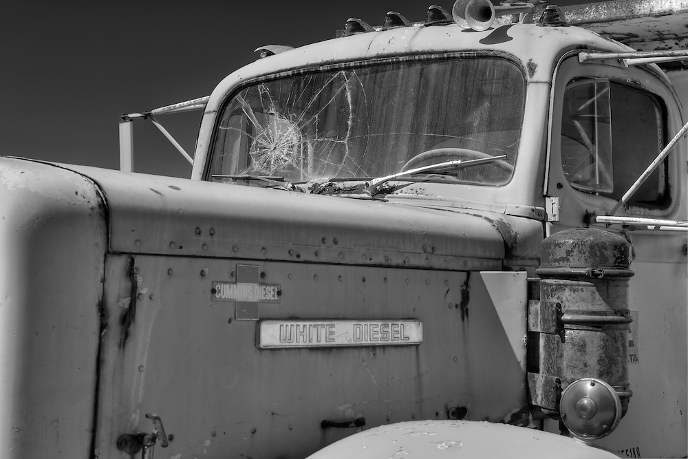 White Diesel Cab Cracked Windshield - Motor Transport Museum - Campo, CA - Black & White