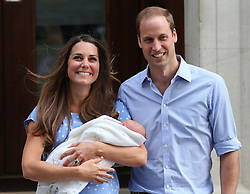 The Duke and Duchess of Cambridge with their new baby boy outside the Lindo Wing of St Mary&rsquo;s Hospital, London, Tuesday, 23rd July 2013<br /> Picture by Stephen Lock / i-Images
