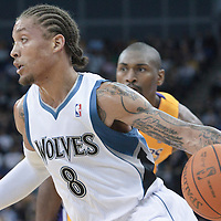 04 October 2010:  Minnesota Timberwolves forward Michael Beasley #8 drives past Los Angeles Lakers forward Ron Artest #37 during the Minnesota Timberwolves 111-92 victory over the Los Angeles Lakers, during 2010 NBA Europe Live, at the O2 Arena in London, England.