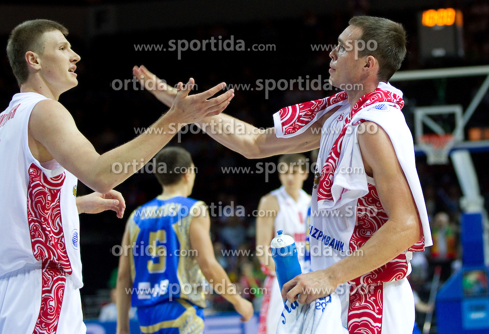 Andrey Vorontsevich and Sergey Bykov of Russia during basketball match between National teams of Russia and Ukraine in Group D of Preliminary Round of Eurobasket Lithuania 2011, on August 31, 2011, in Arena Svyturio, Klaipeda, Lithuania. (Photo by Vid Ponikvar / Sportida)