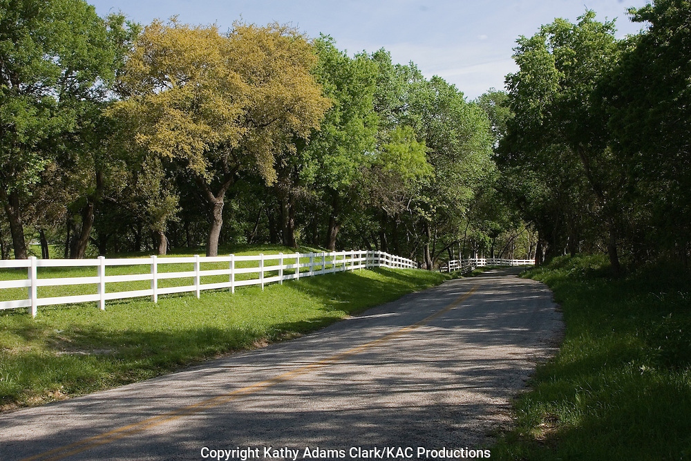 FM 1621 between Waring and Welfare, Texas, is lined with a white fence and trees as the road nears the Guadalupe River.