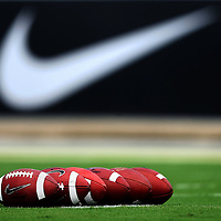 Sep 15, 2012; Orlando, FL, USA; Footballs sit on the field prior to the game between the Florida International Golden Panthers and the UCF Knights at Bright House Networks Stadium.