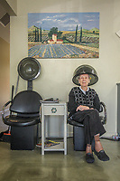 """""""I have an appointment here every Friday at 10 AM.""""  -Elsie Hansen dries her hair at Rena Mae Salon & Spa on Washington Street in Calistoga."""