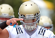 Linebacker Manti Te'o (5) salutes while heading into summer training camp, 2011.