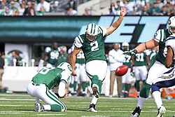 Oct 23, 2011; East Rutherford, NJ, USA; New York Jets place kicker Nick Folk (2) kicks a field goal during the first half at MetLife Stadium.
