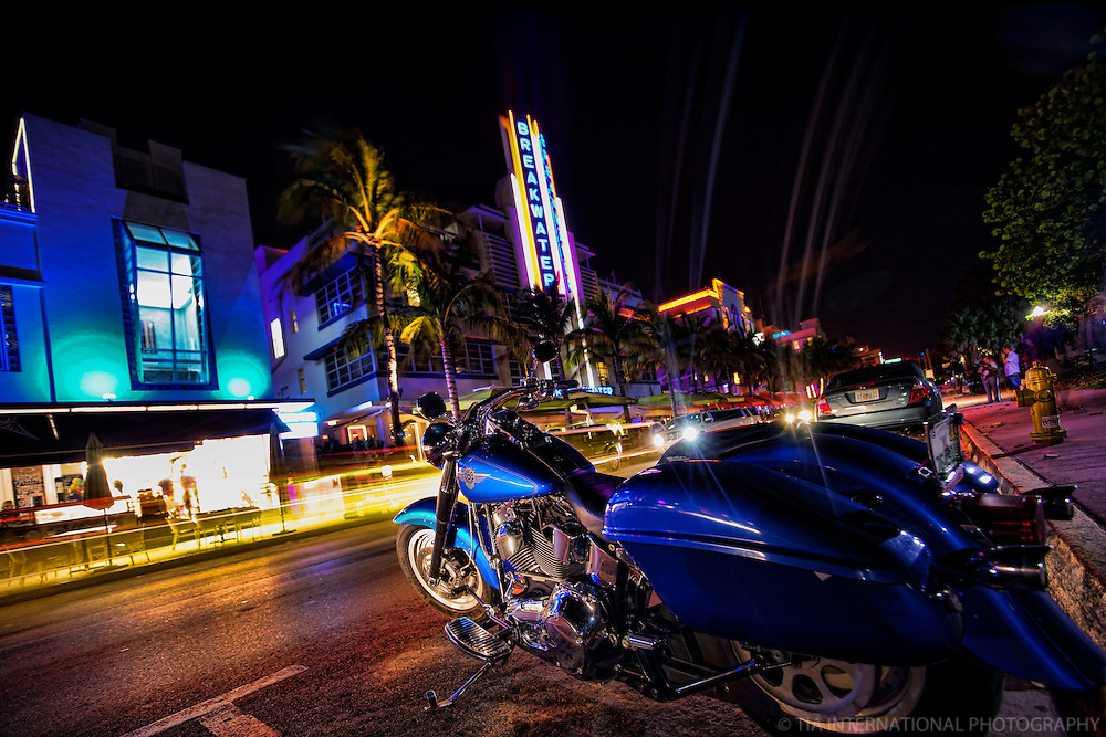 Blue Motorcycle and the Breakwater Hotel