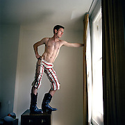 Jake Shears, lead singer with the Scissor Sisters, in his hotel room in London.