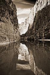 Calm water in Santa Elena Canyon. Big Bend National Park, Texas.