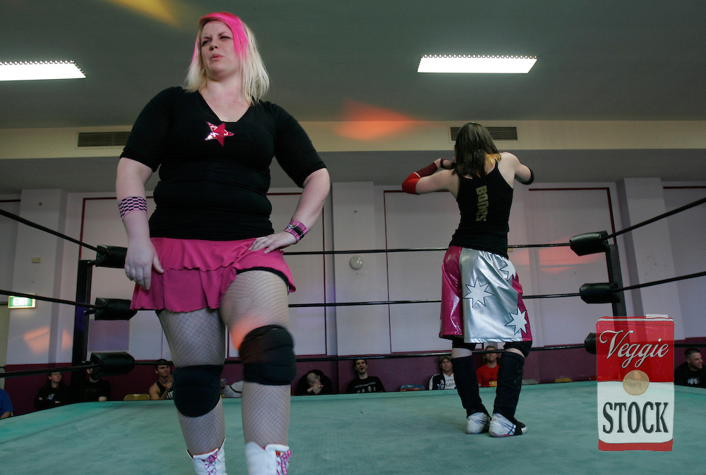 Women wrestlers in action in a PWWA show at the Liverpool Masonic Centre in Sydney, Saturday, July 28, 2007.